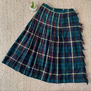 Vintage Tartan Plaid Handmade Pleated Midi Skirt